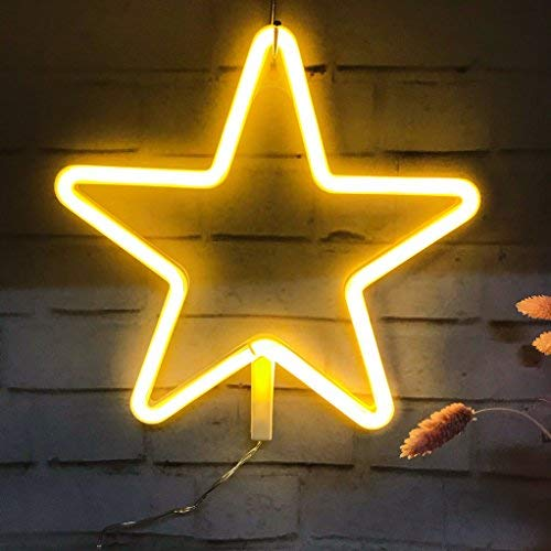 Neon Light,LED Star Sign Shaped Decor Light,Wall Decor for Christmas,Birthday Party,Kids Room, Living Room, Wedding Party Decor (Warm White)