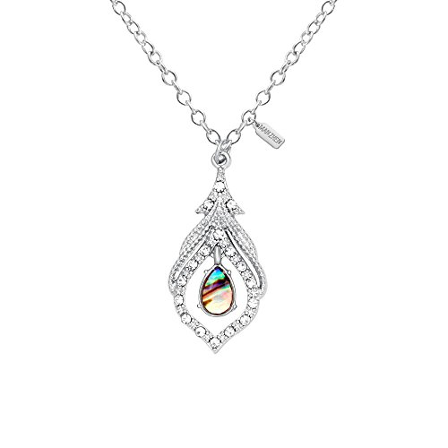 MANZHEN Silver Tone Delicate Crystal Peacock Feather Abalone Shell Pendant Necklace for Women(Silver)