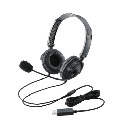 USB Overhead Headset with Microphones by Elecom