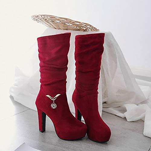 Alto Pull Stivaletti Moda 1 Tacco RAZAMAZA Rosso On Donna xZPSzWwt
