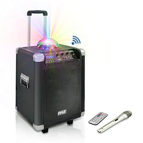 "Pyle Portable Karaoke PA Speaker - Disco Jam System Machine with LED Party Light 400 Watt Rechargeable Battery Wireless Headset, Microphone, AM/FM Radio, 10"" Subwoofer and Bluetooth PCMX280B ()"