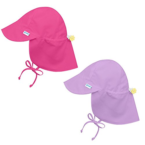 i play. 2 Pack UPF 50+ Sun Protection Flap Sun Hats 2T-4T Hot Pink Purple