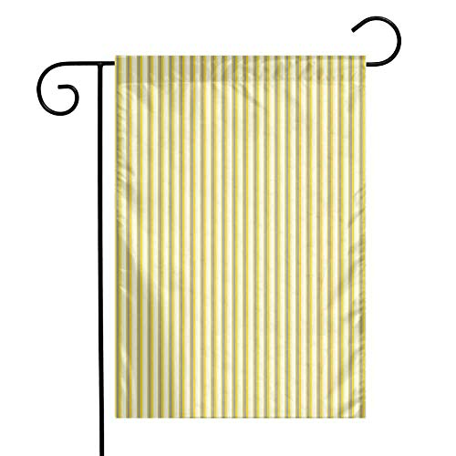 (Mannwarehouse Yellow Garden Flag Classical Pattern with Vertical Stripes in Retro Style in Pastel Colors Premium Material W12 x L18 Yellow Grey Coconut)