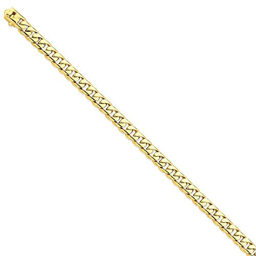 14k Yellow Gold 7.25mm Hand-polished Rounded Curb Chain Bracelet 8 Inches Long