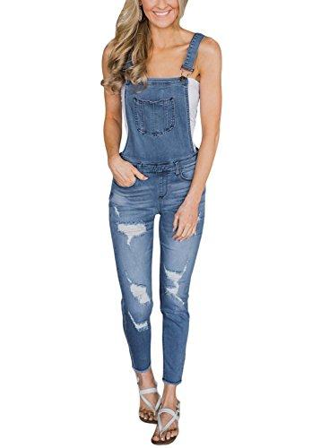 Sidefeel Women Casual Denim Jumpsuit Wash Distressed Jeans Overalls Medium Light (Distressed Blue Wash)