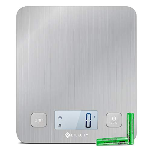 Etekcity EK6212 Kitchen Food Digital Cooking Multifunction Weight Scale, Large Platform 11lb 5kg, Batteries Included (Stainless Steel)