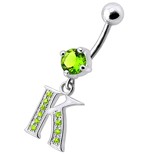 Peridot Green CZ Stone K Alphabet Dangling 925 Sterling Silver Belly Button Piercing Ring (Dangling Peridot Belly Button Ring)