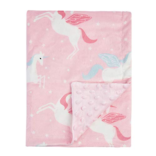 Minky Baby Toddler Blanket - Boritar Unicorn Baby Blanket for Girls Soft Minky with Double Layer Dotted Backing Ultra Soft and Cute Kids Blanket for Toddler Bed, 30 x 40 Inch Pink