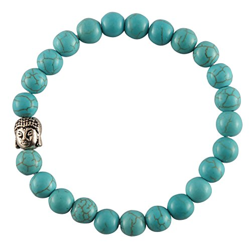 41NhazOBvUL - Aatm Reiki Energized Gift Natural Turquoise Gemstone 7-8mm Round Beaded Gemstone Chakra Stretch Bracelet Unisex for Healing (