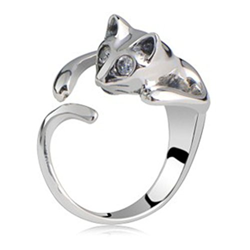 Chengxun Cute Cat Animal Wrap Rings Gift for Women and Girls Unique Ring Fashion Jewelry Silver Plated