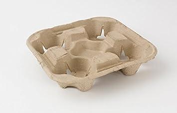 50 x 4 taza Biodegradable cartón papel/plástico Bandeja portavasos