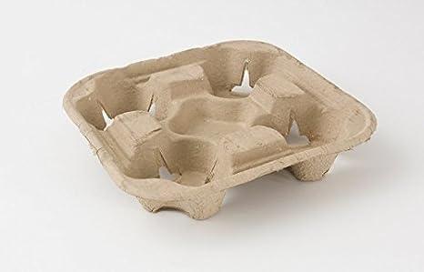 50 x 4 taza Biodegradable cartón papel/plástico Bandeja portavasos: Amazon.es: Hogar