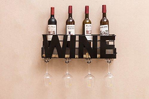 Metal Wall Mount Wine Bottle Rack: Hold Wine Corks & Wine