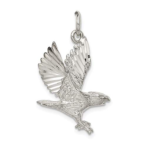 Solid Silver Eagle Sterling Charm (Mireval Sterling Silver Eagle Charm (approximately 25 x 19 mm))
