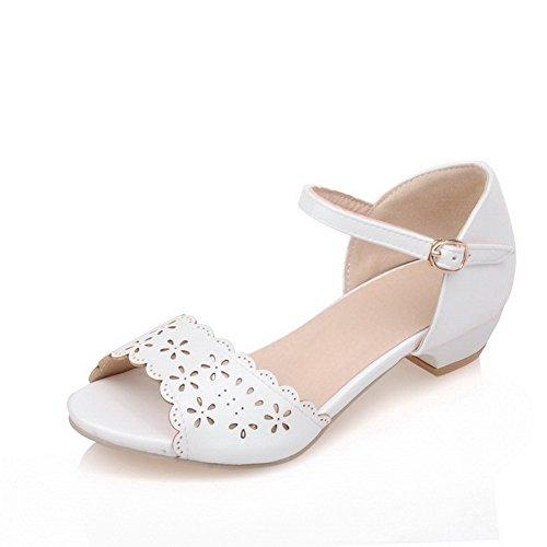AllhqFashion Mujeres Hebilla Mini Tacón Sólido Puntera Abierta Sandalias de vestir Blanco