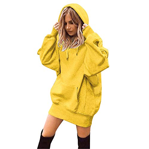 GOVOW Ins Hoody Sweatshirts for Women Plus Size Solid Color Clothes Hoodies Pullover Coat(US:12/CN:XL,Yellow) (Best Tv Doorbuster Deals)