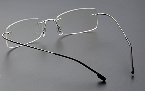 d4e46f77e06 Agstum Mens Womens Titanium Alloy Flexible Rimless Frame Prescription  Eyeglasses 51mm (Silver