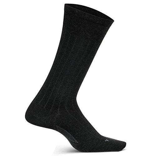 Feetures Men's Everyday Performance Dress Sock - Wide Rib Ultra Light Crew - Charcoal - Size Medium