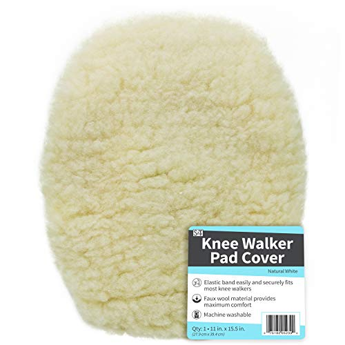 S&T 523901 Universal Knee Walker Pad Cover - Natural White