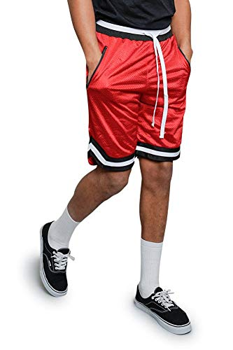 Victorious Men's Pro Striped Double Layered Mesh Drawstring Basketball Shorts with Zippered Pockets JS17 - Red - Large - H8D
