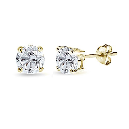 (Yellow Gold Flashed Sterling Silver Created White Sapphire 6mm Round-Cut Solitaire Stud Earrings)