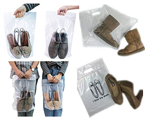 Shoes Plastic Bags Zip Lock 3 Sizes in 1 Set Total 12 Pieces, for Travel, Dust Cover, Storage Boots, Women, Men Shoes Reusable