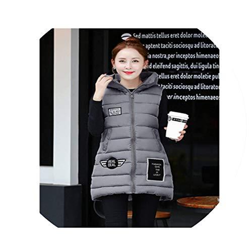 Puissant fishing-vests Women Hooded Warm Winter Jacket Women Long Vest Parka Sleeveless Outerwear Cotton Waistcoat Vest,Dark Grey,XXL (Patagonia Womens Classic Retro X Fleece Jacket)