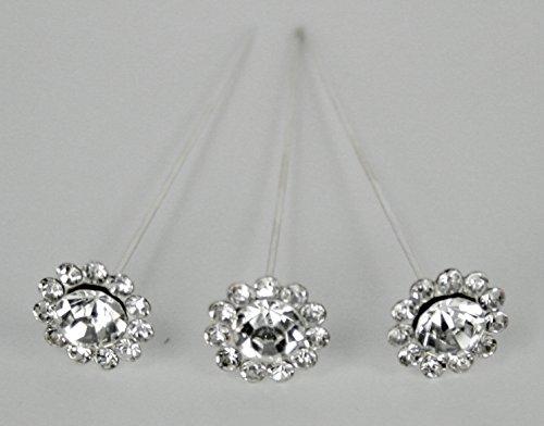 6 Bouquet Pins Corsage Wedding ROUND FLORAL Design Crystal Rhinestone -