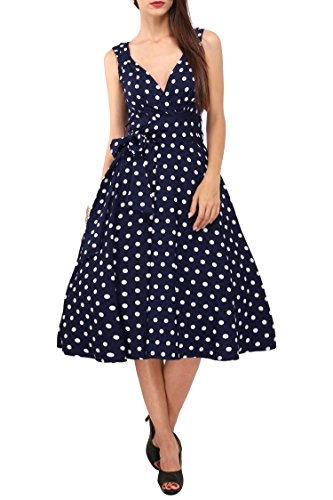 Dress 40s 50s Swing Vintage Rockabilly Ladies Retro Prom Party Plus Size 6 - 24 (24, Navy) (Polyester Swing)