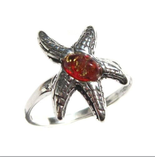 Amber Sterling Silver Sea Starfish Ring