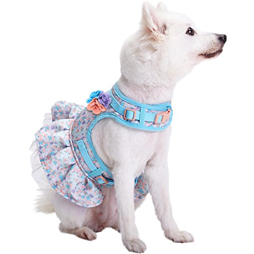 Image of Blueberry Pet New Soft & Comfy Spring Made Well Lovely Floral No Pull Mesh Puppy Dog Costume Harness Dress in Lavender, Chest Girth 14