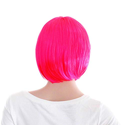 Women's Layered Bob Short Straight Wigs with Bangs Disco Rave Party Bob Wig Rose (Pink Party Wig)