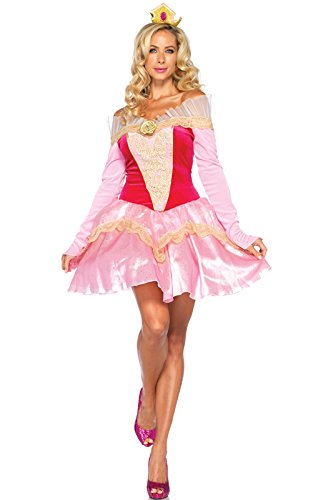Leg Avenue Disney 2Pc. Princess Aurora Costume Dress with Organza Stay Up Collar and Crown Headpiece, Pink, (Adult Disney Characters Costumes)