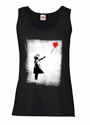 "Camiseta de tirantes mujer ""Balloon Girl "" - BANKSY 100% algodòn LaMAGLIERIA"