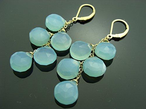 Aqua Chalcedony Cascade 14K Gold Filled Leverback Earrings (Leverback Chalcedony Earring)