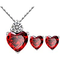 Most Beloved Bright Red Austrian Crystal Heart Shape Pendant Set With Earrings