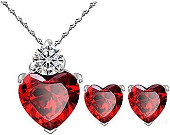 Most Beloved Bright Red Austrian Crystal Heart Shape Pendant Set
