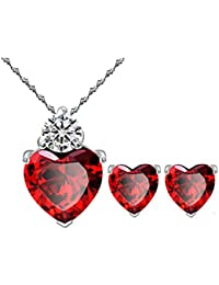 Bright Red Austrian Crystal Heart Shape Pendant Set With Earrings For Women