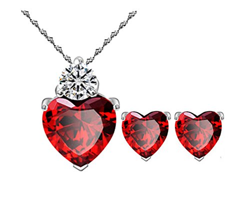 Spark Plug Costume (Most Beloved Bright Red Austrian Crystal Heart Shape Pendant Set With Earrings For Women)