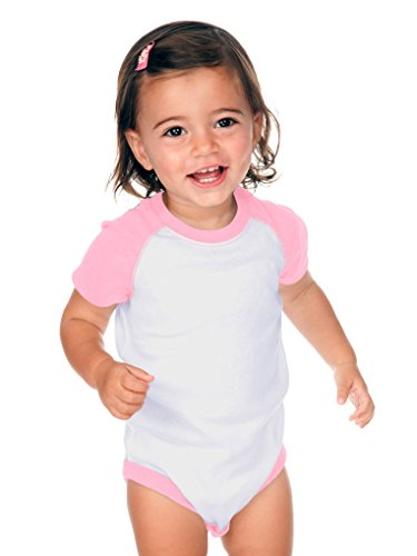 (Kavio! Unisex Infants Raglan Short Sleeve Bodysuit (Same I1C0190) White/Baby Pink 12M)