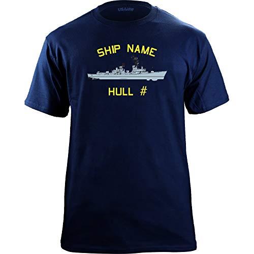 U.S. Navy Adams Destroyer Class Customizable T-Shirt (Medium, Navy) ()