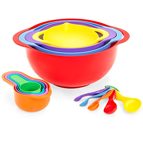 Best Choice Products 13-Piece BPA-Free Stackable Kitchen Mixing Bowl Set w/Measuring Cups, Colander - Multicolor by Best Choice Products
