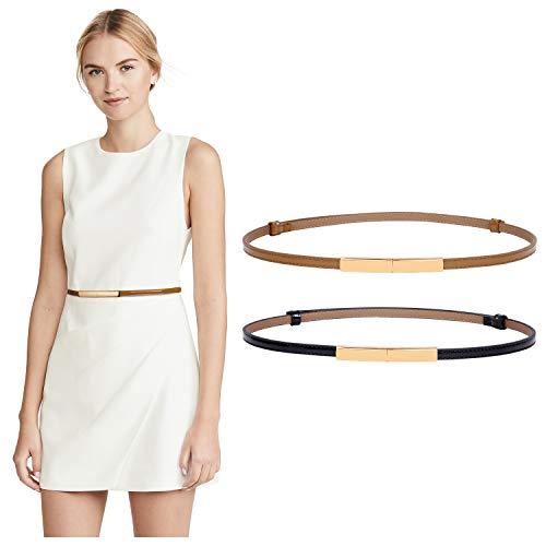 2 PACK WERFORU Women Patent Skinny Thin Leather Waist Belt with Golden Buckle (Black+Brown, Waist Size below 40 Inches)