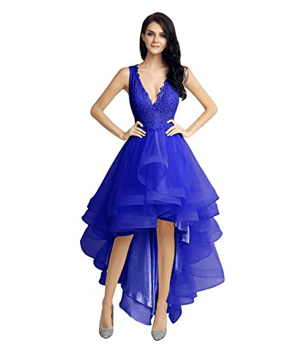 Sarahbridal High Low Bridesmaid Dress Tulle Lace Homecoming Dress Prom Dress royal blue US2