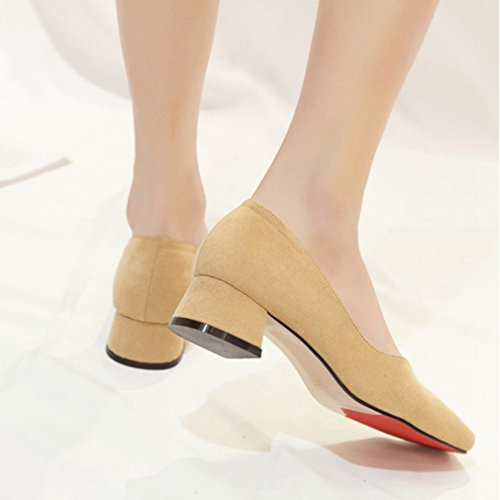 Giy Mujeres Classic Pumps Mocasines Slip-on Buckle Suede Square Toe Block Heel Dress Penny Loafer Bomba Beige