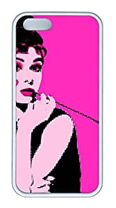 TPU White Color Soft Case For iPhone 5S Super Soft Ultra-thin Phone Case Suit iPhone5/5S Very Fine Workmanship Case Easy To Operate Audrey Hepburn 262
