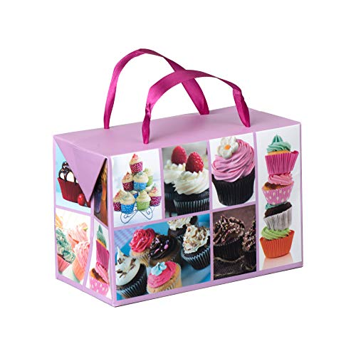 Cupcake Design Paper Gift Bag Box-Foldable Party Favors Treat Bags with Ribbon Handles for Baby Shower, Holiday and Birthday Parties 7
