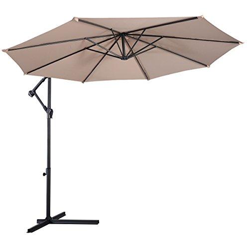 Giantex 10' Hanging Umbrella Patio Sun Shade Offset Outdoor Market W/T Cross Base (Beige)