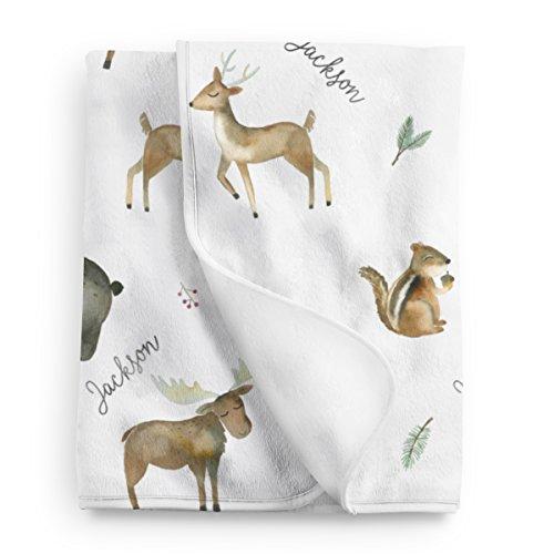 Personalized Woodland Fleece Baby Blanket, Woodland nursery décor