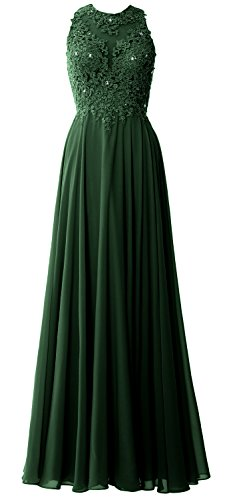 MACloth Elegant High Neck Long Prom Dress Lace Chiffon Formal Party Evening Gown Verde Oscuro